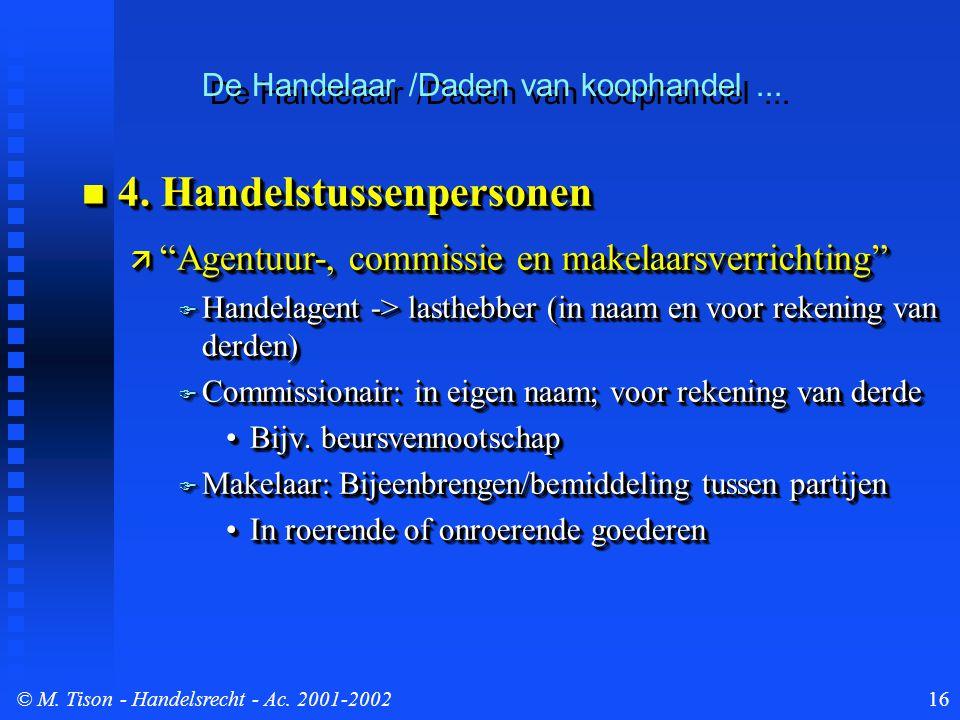 © M. Tison- Handelsrecht - Ac. 2001-200216  4.