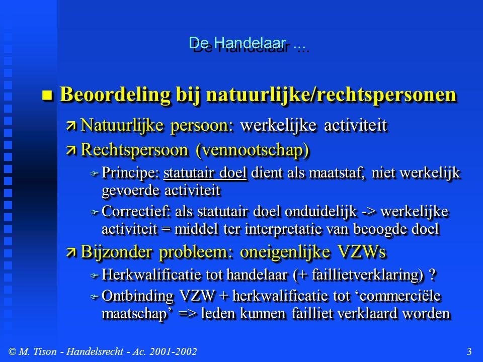 © M.Tison- Handelsrecht - Ac. 2001-20024  De (objectieve) daden van koophandel (art.