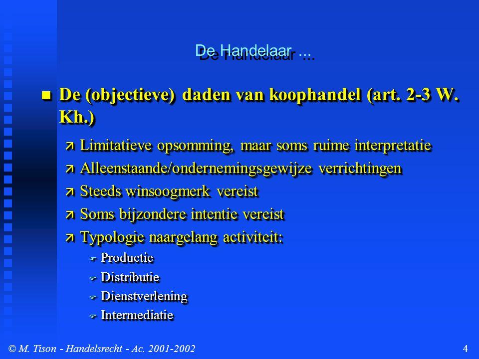 © M. Tison- Handelsrecht - Ac. 2001-20024  De (objectieve) daden van koophandel (art.