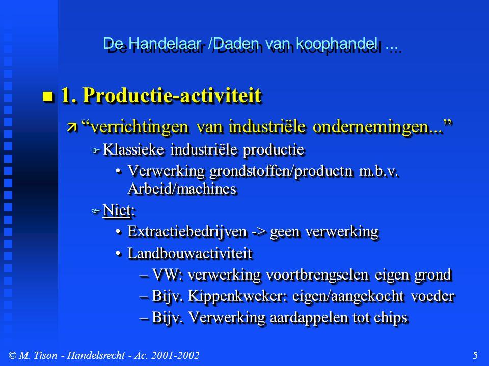 © M. Tison- Handelsrecht - Ac. 2001-20025  1.