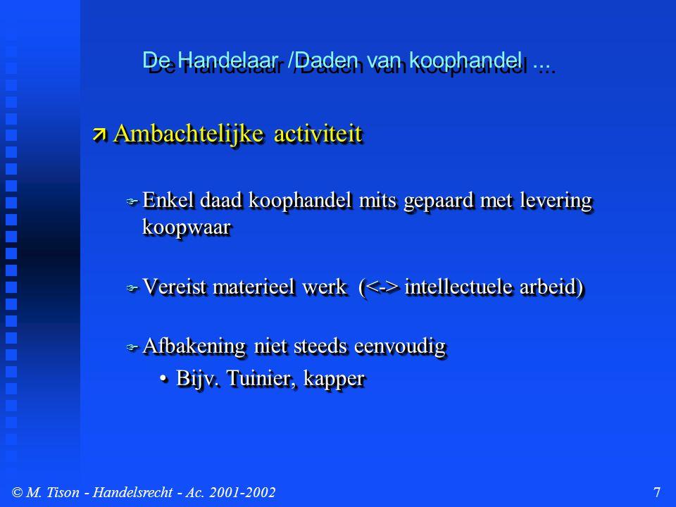© M.Tison- Handelsrecht - Ac. 2001-20028  2.