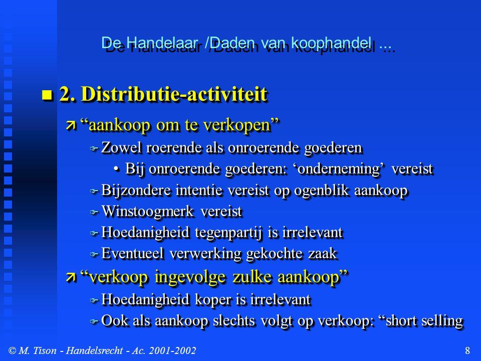 © M. Tison- Handelsrecht - Ac. 2001-20028  2.