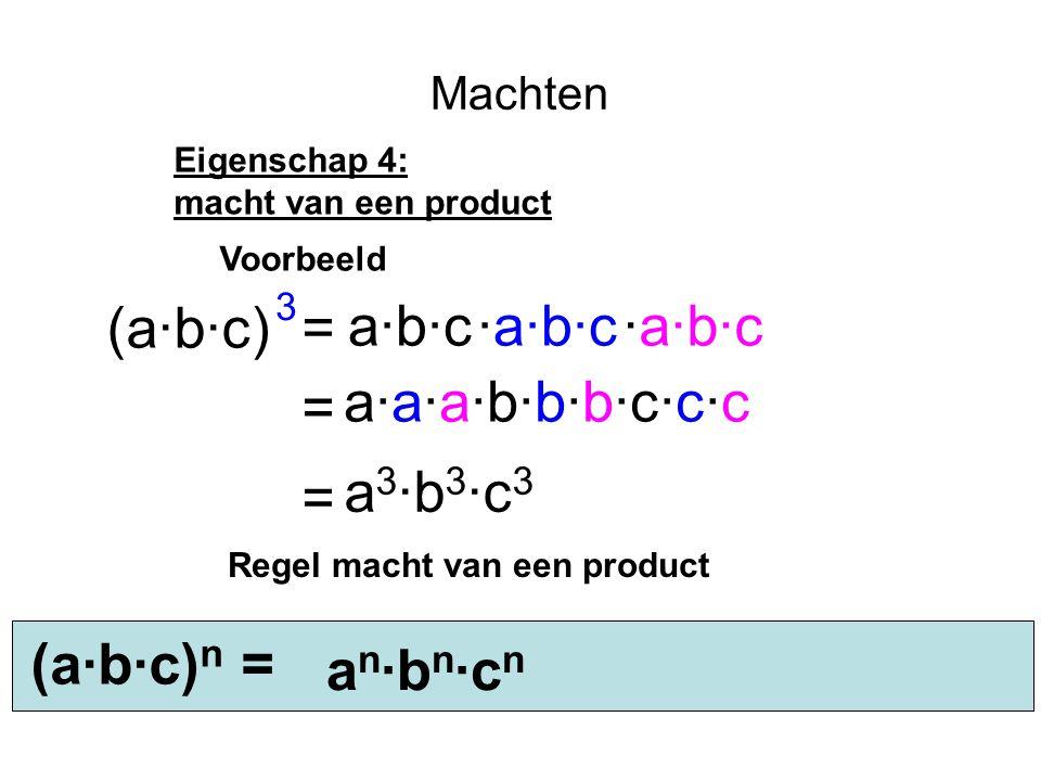 Machten Eigenschap 4: macht van een product (a·b·c) a·b·c·a·b·c = 3 = Voorbeeld ·a·b·c a·a·a·b·b·b·c·c·c = a 3 ·b 3 ·c 3 (a·b·c) n = an·bn·cnan·bn·cn Regel macht van een product