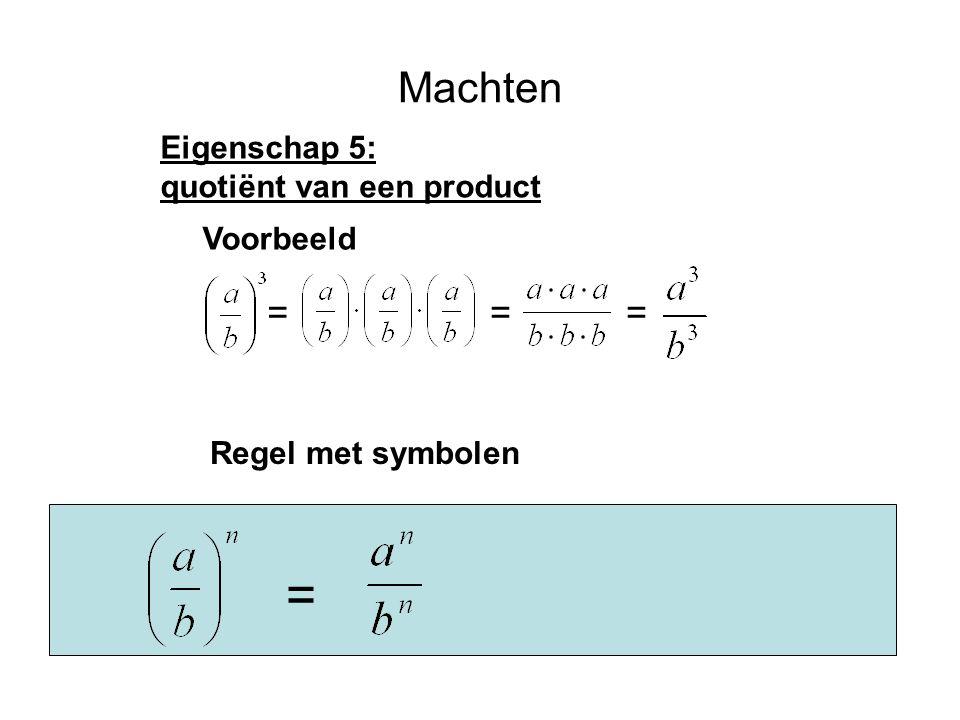 Machten Eigenschap 5: quotiënt van een product Voorbeeld === Regel met symbolen =