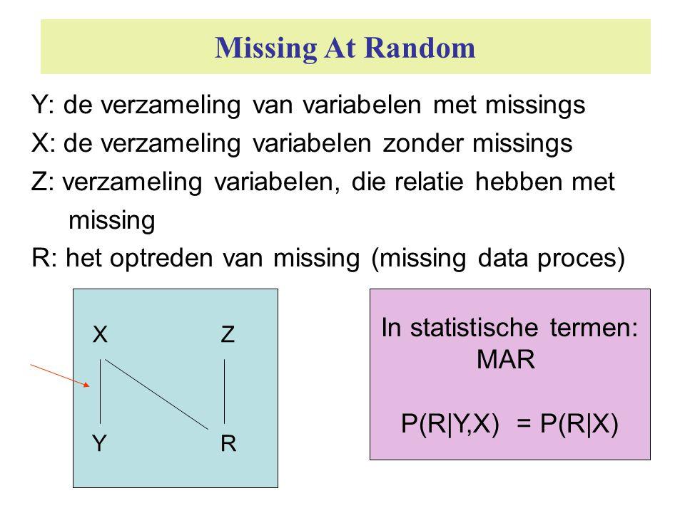 Missing At Random Y: de verzameling van variabelen met missings X: de verzameling variabelen zonder missings Z: verzameling variabelen, die relatie he