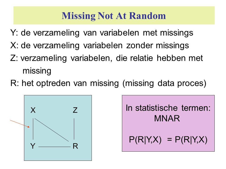 Missing Not At Random Y: de verzameling van variabelen met missings X: de verzameling variabelen zonder missings Z: verzameling variabelen, die relati