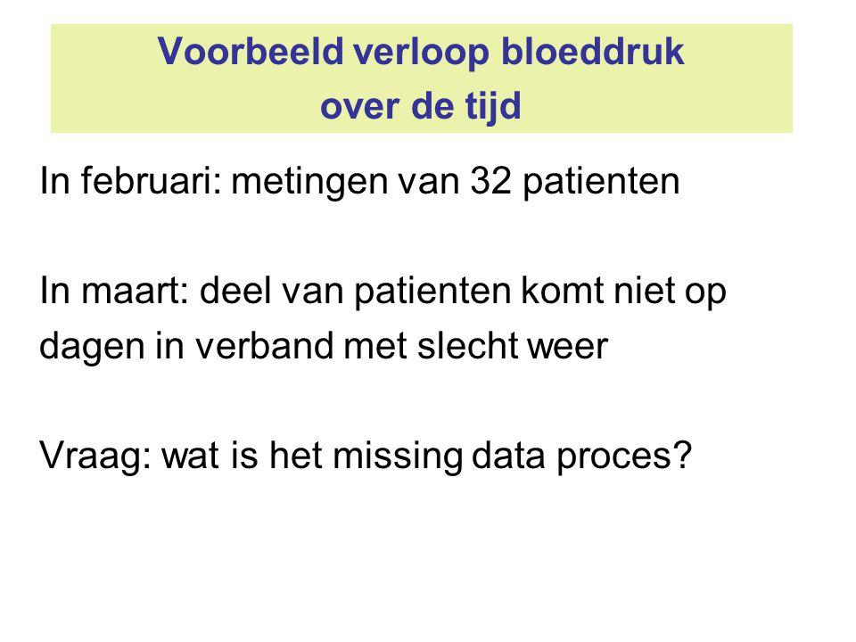 Voorbeeld verloop bloeddruk over de tijd In februari: metingen van 32 patienten In maart: deel van patienten komt niet op dagen in verband met slecht