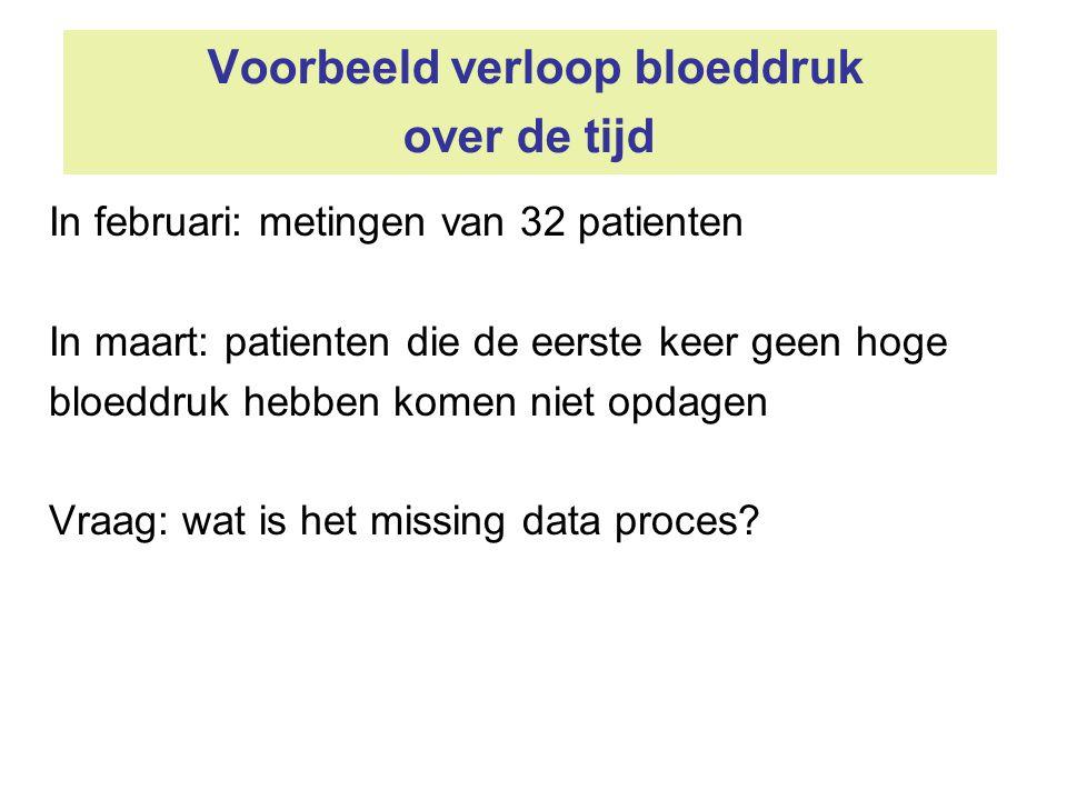Voorbeeld verloop bloeddruk over de tijd In februari: metingen van 32 patienten In maart: patienten die de eerste keer geen hoge bloeddruk hebben kome