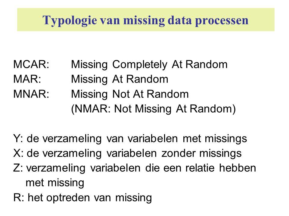 Missing Completely At Random Y: de verzameling van variabelen met missings X: de verzameling variabelen zonder missings Z: verzameling variabelen, die relatie hebben met missing R: optreden van missing (missing data proces) X Z Y R In statistische termen: MCAR P(R|Y,X) = P(R)