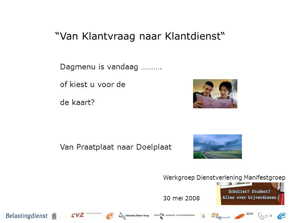 Van Klantvraag naar Klantdienst Werkgroep Dienstverlening Manifestgroep 30 mei 2008 Dagmenu is vandaag ……….