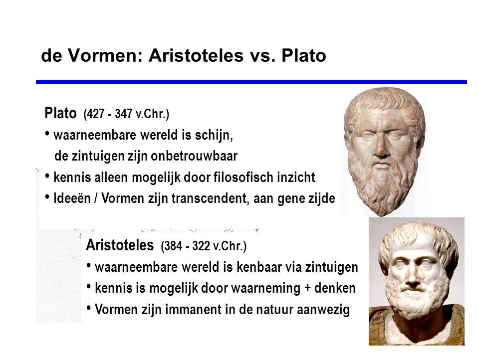 de Vormen: Aristoteles vs. Plato Plato (427 - 347 v.Chr.) • waarneembare wereld is schijn, de zintuigen zijn onbetrouwbaar • kennis alleen mogelijk do