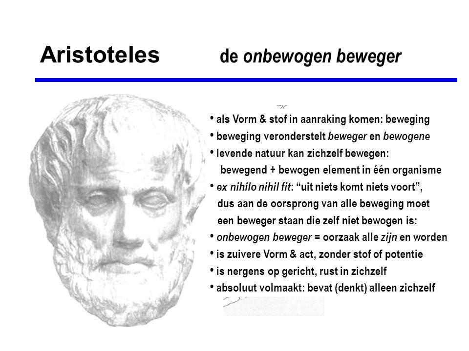 Aristoteles de onbewogen beweger • als Vorm & stof in aanraking komen: beweging • beweging veronderstelt beweger en bewogene • levende natuur kan zich