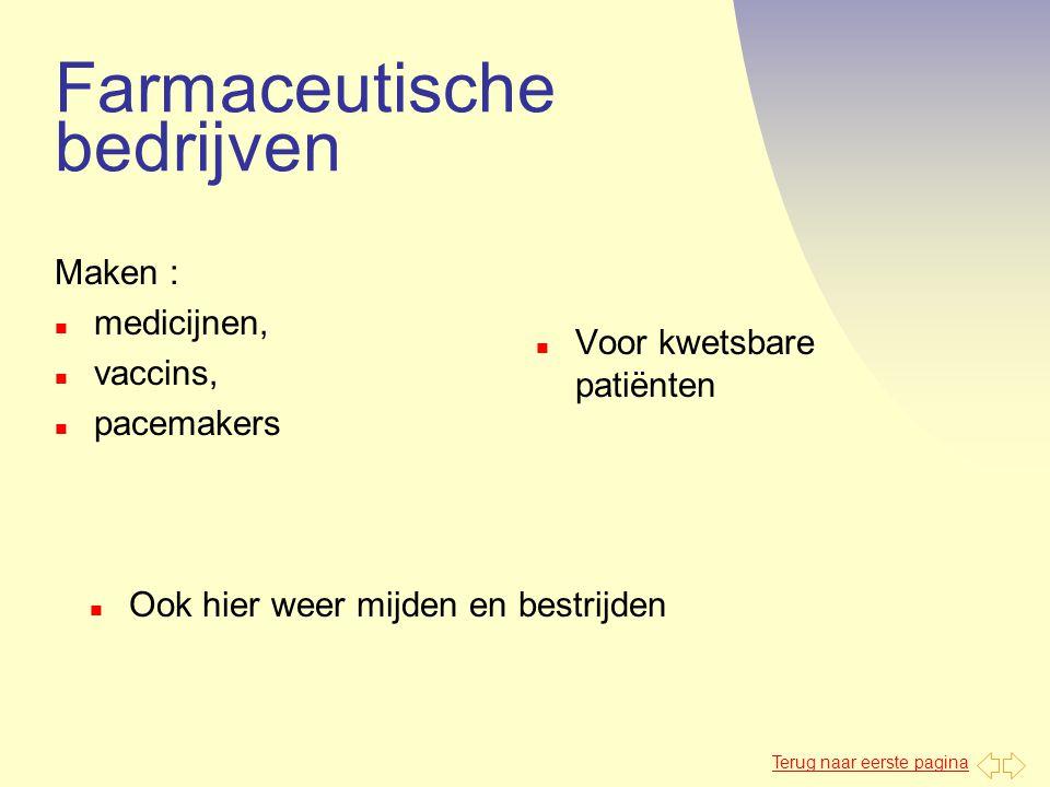 Terug naar eerste pagina Farmaceutische bedrijven Maken : n medicijnen, n vaccins, n pacemakers n Voor kwetsbare patiënten n Ook hier weer mijden en b