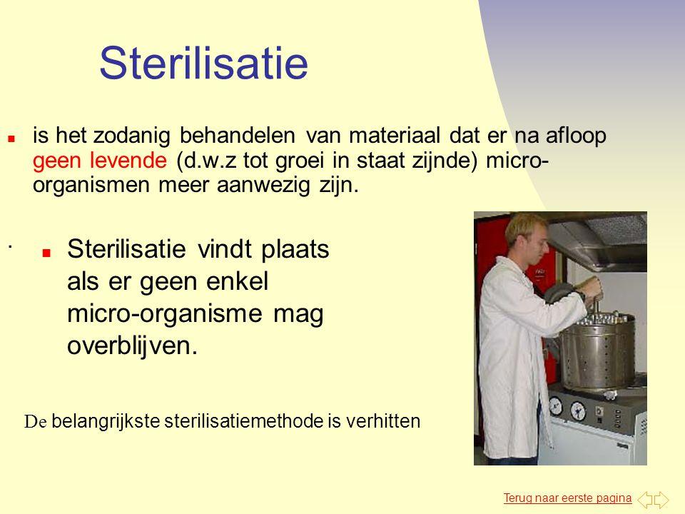 Terug naar eerste pagina Sterilisatie n is het zodanig behandelen van materiaal dat er na afloop geen levende (d.w.z tot groei in staat zijnde) micro-