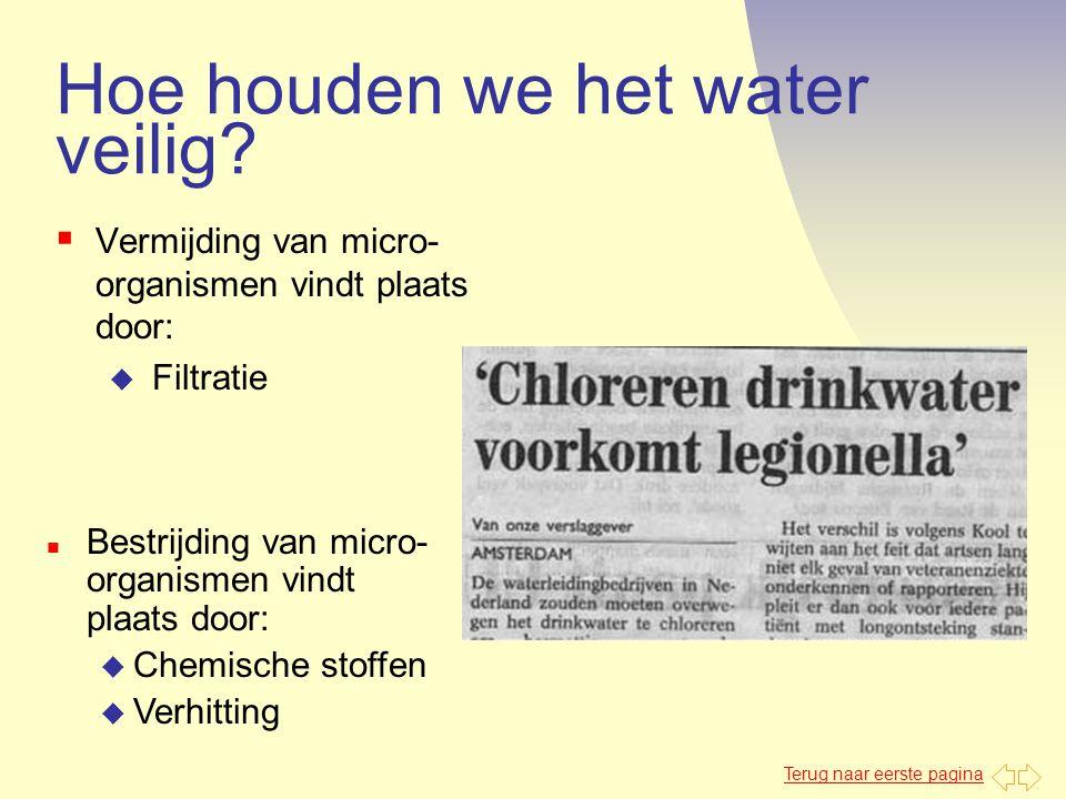 Terug naar eerste pagina Hoe houden we het water veilig?  Vermijding van micro- organismen vindt plaats door: u Filtratie n Bestrijding van micro- or
