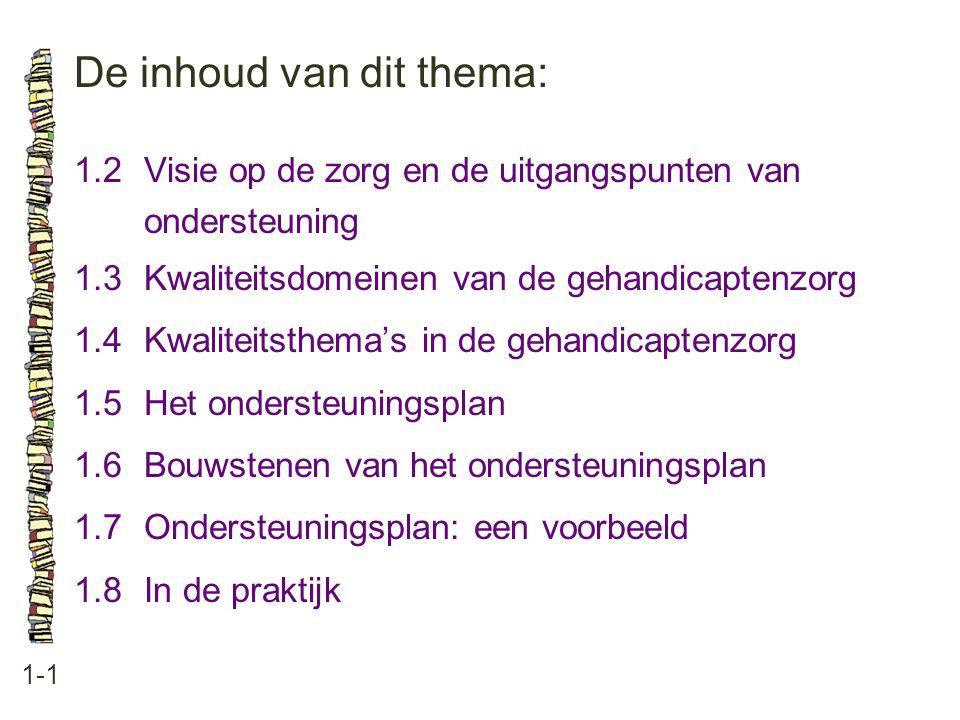 De inhoud van dit thema: 1-1 1.2Visie op de zorg en de uitgangspunten van ondersteuning 1.3 Kwaliteitsdomeinen van de gehandicaptenzorg 1.4 Kwaliteits
