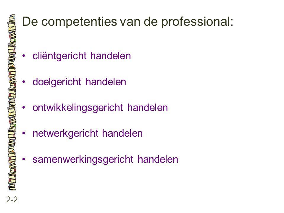 De competenties van de professional: 2-2 •cliëntgericht handelen •doelgericht handelen •ontwikkelingsgericht handelen •netwerkgericht handelen •samenw