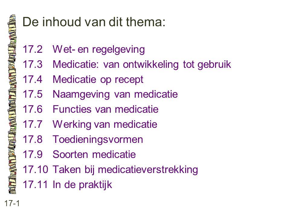 De inhoud van dit thema: 17-1 17.2 Wet- en regelgeving 17.3 Medicatie: van ontwikkeling tot gebruik 17.4Medicatie op recept 17.5 Naamgeving van medica