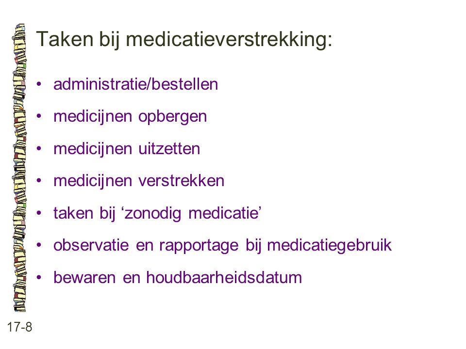 Taken bij medicatieverstrekking: 17-8 •administratie/bestellen •medicijnen opbergen •medicijnen uitzetten •medicijnen verstrekken •taken bij 'zonodig