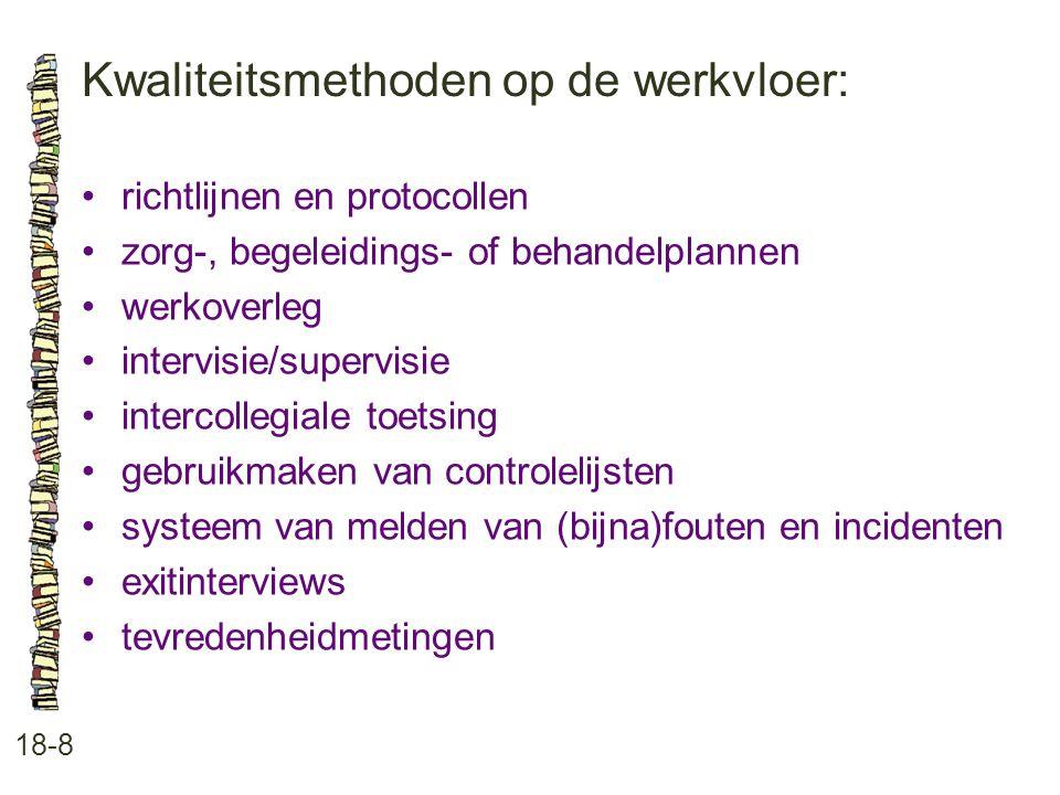 Kwaliteitsmethoden op de werkvloer: 18-8 •richtlijnen en protocollen •zorg-, begeleidings- of behandelplannen •werkoverleg •intervisie/supervisie •int