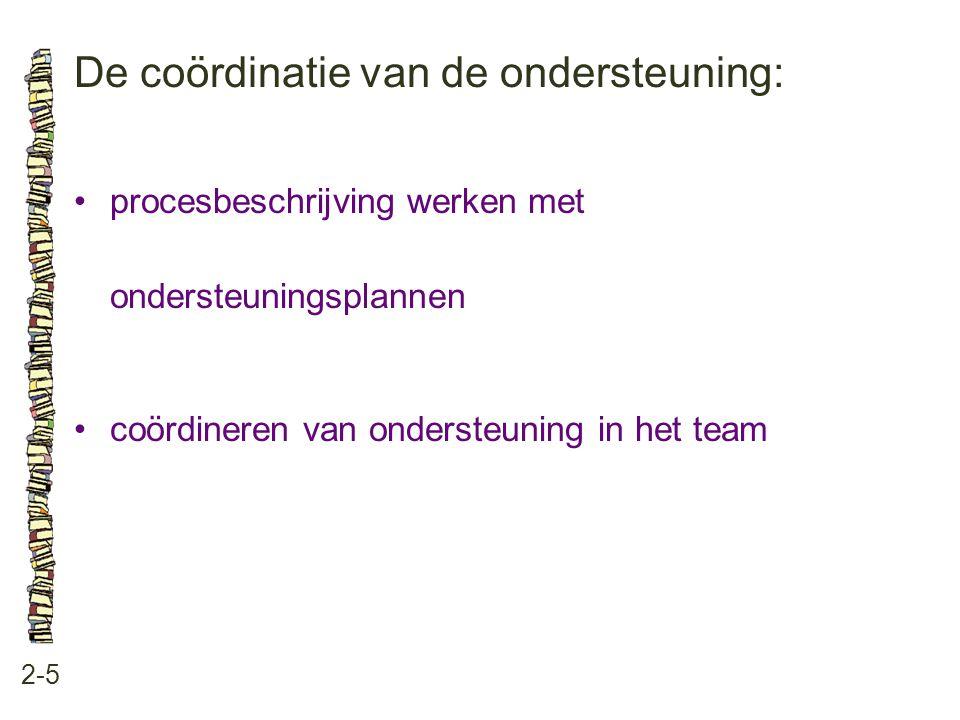 De coördinatie van de ondersteuning: 2-5 •procesbeschrijving werken met ondersteuningsplannen •coördineren van ondersteuning in het team