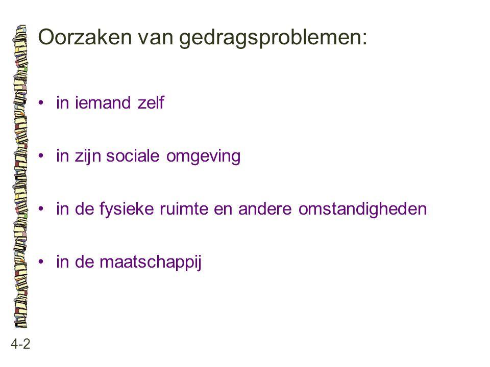 Oorzaken van gedragsproblemen: 4-2 •in iemand zelf •in zijn sociale omgeving •in de fysieke ruimte en andere omstandigheden •in de maatschappij