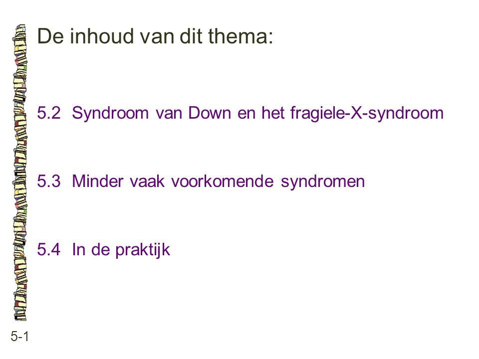 De inhoud van dit thema: 5-1 5.2Syndroom van Down en het fragiele-X-syndroom 5.3 Minder vaak voorkomende syndromen 5.4 In de praktijk
