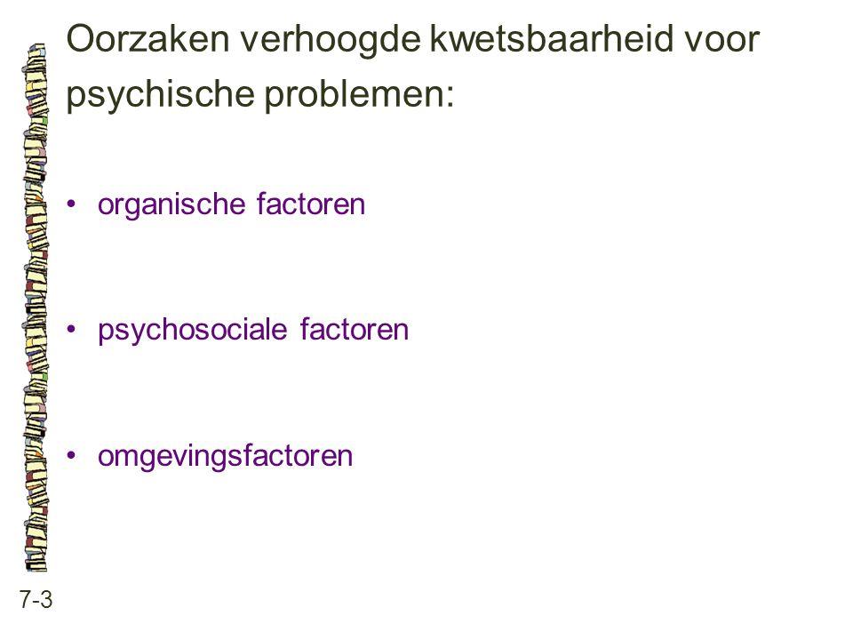 Oorzaken verhoogde kwetsbaarheid voor psychische problemen: 7-3 •organische factoren •psychosociale factoren •omgevingsfactoren