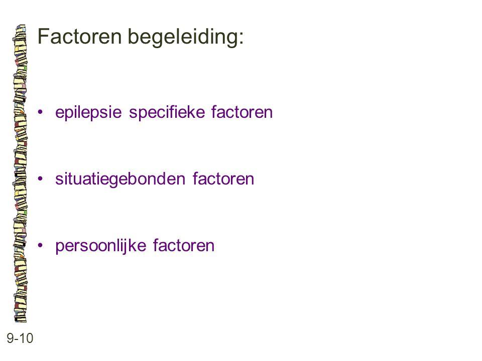 Factoren begeleiding: 9-10 •epilepsie specifieke factoren •situatiegebonden factoren •persoonlijke factoren