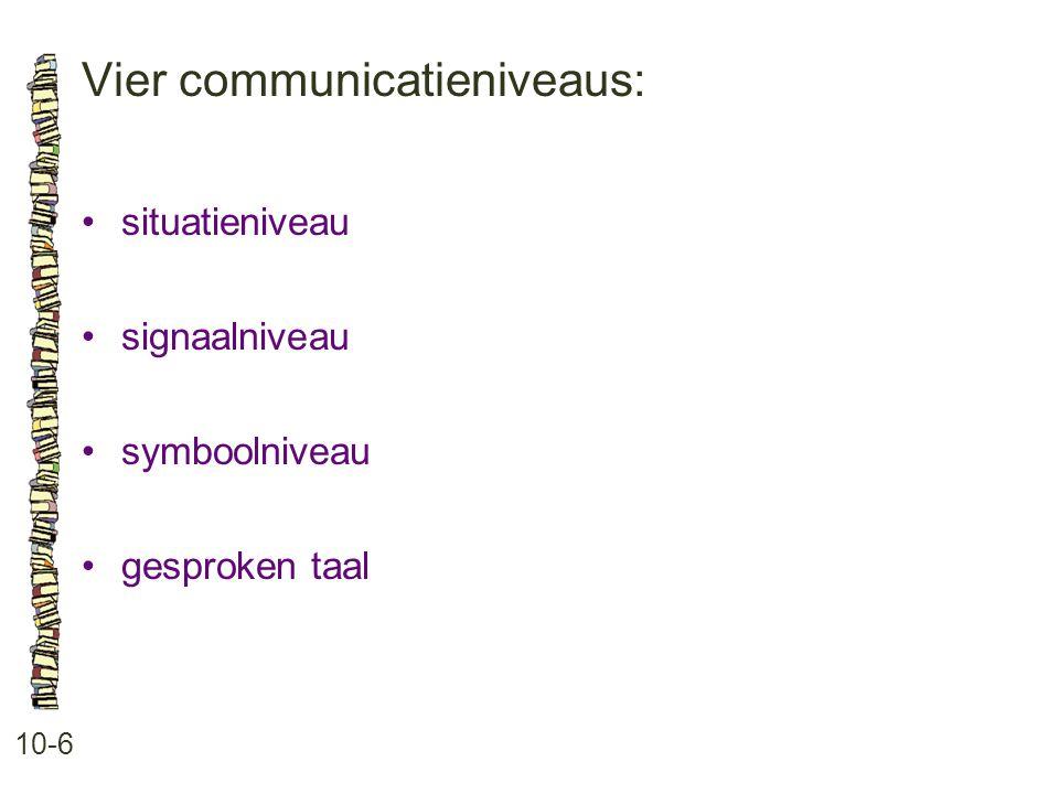 Vier communicatieniveaus: 10-6 •situatieniveau •signaalniveau •symboolniveau •gesproken taal