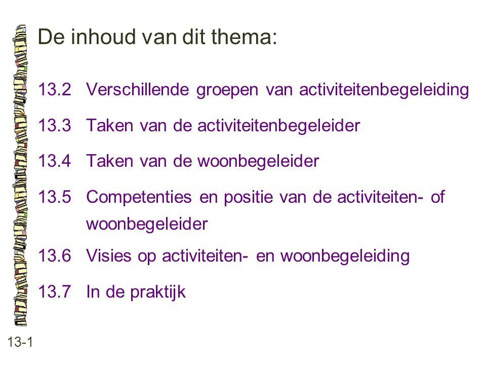 De inhoud van dit thema: 13-1 13.2 Verschillende groepen van activiteitenbegeleiding 13.3 Taken van de activiteitenbegeleider 13.4 Taken van de woonbe