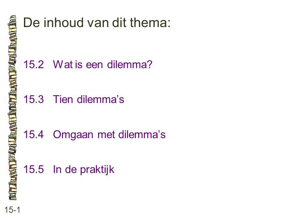 De inhoud van dit thema: 15-1 15.2 Wat is een dilemma? 15.3 Tien dilemma's 15.4Omgaan met dilemma's 15.5In de praktijk