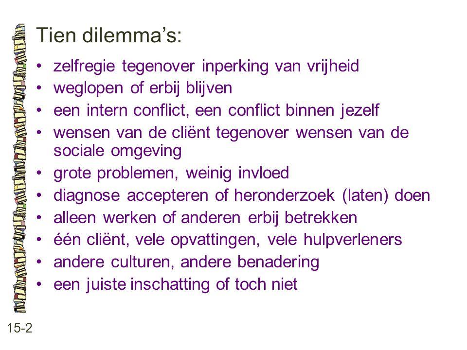 Tien dilemma's: 15-2 •zelfregie tegenover inperking van vrijheid •weglopen of erbij blijven •een intern conflict, een conflict binnen jezelf •wensen v