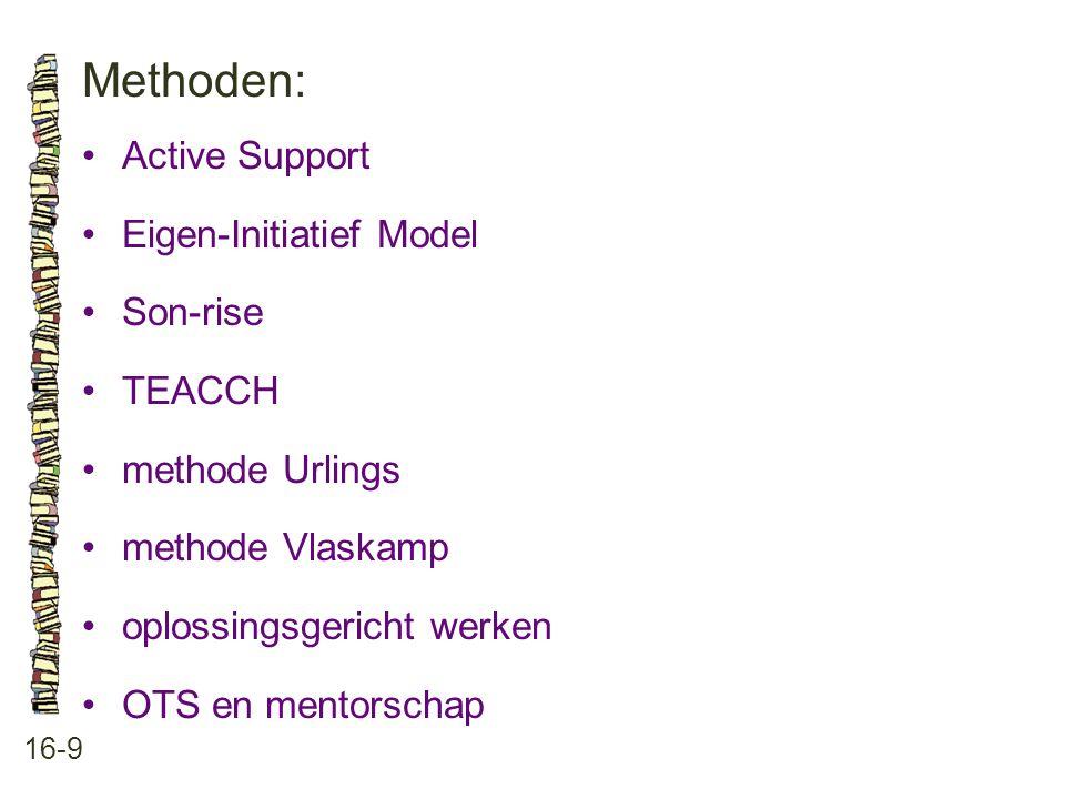 Methoden: 16-9 •Active Support •Eigen-Initiatief Model •Son-rise •TEACCH •methode Urlings •methode Vlaskamp •oplossingsgericht werken •OTS en mentorsc