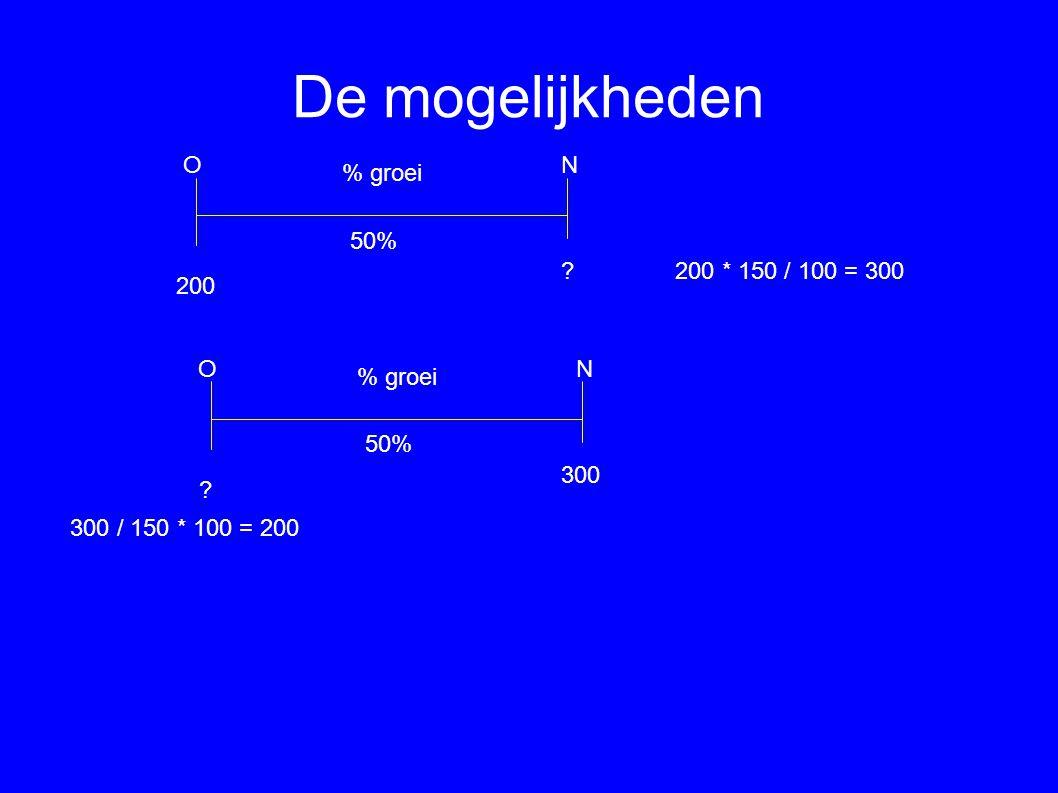 De mogelijkheden ON % groei 200 50% 200 * 150 / 100 = 300 ON % groei 50% 300 ? ? 300 / 150 * 100 = 200