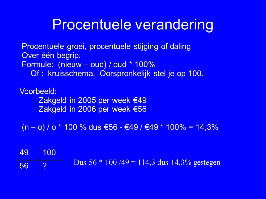 Procentuele verandering Procentuele groei, procentuele stijging of daling Over één begrip. Formule: (nieuw – oud) / oud * 100% Of : kruisschema. Oorsp