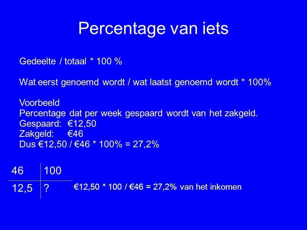 Percentage van iets Gedeelte / totaal * 100 % Wat eerst genoemd wordt / wat laatst genoemd wordt * 100% Voorbeeld Percentage dat per week gespaard wor