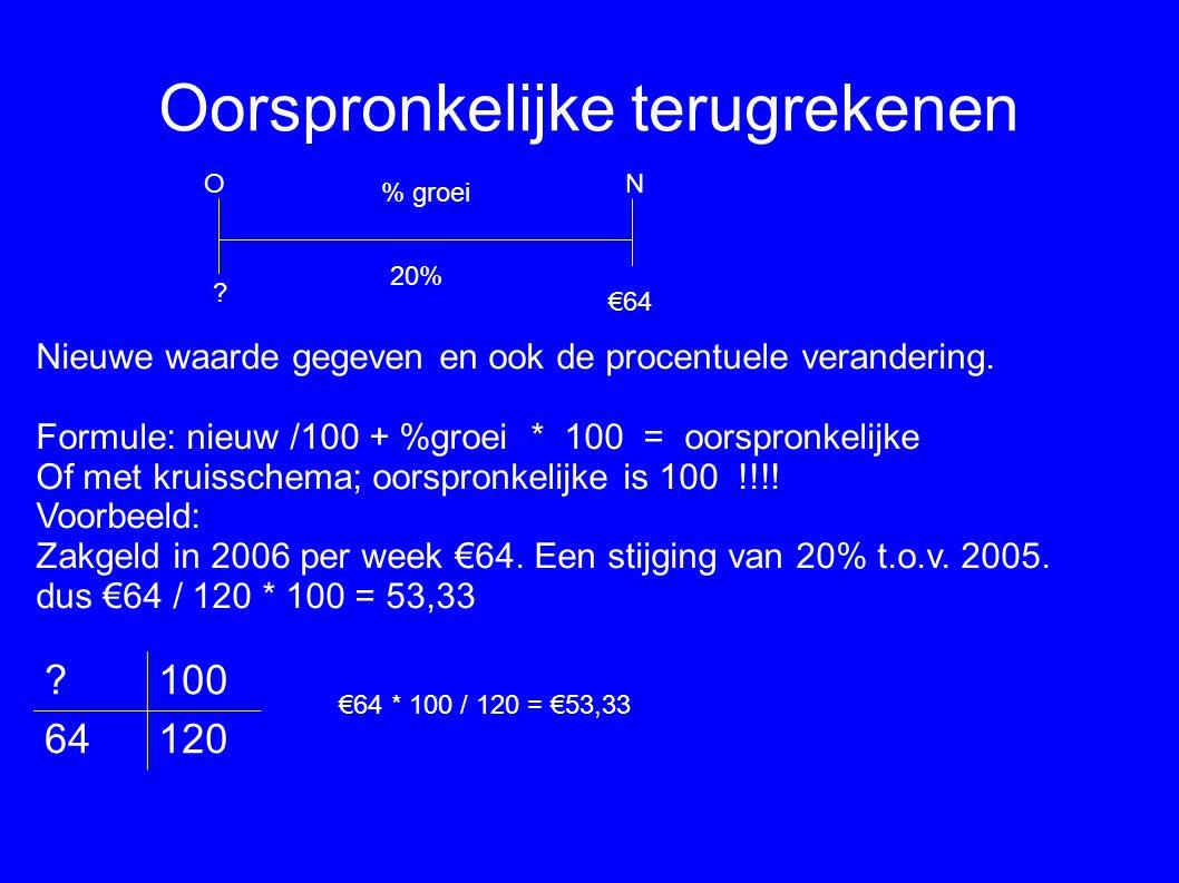 Oorspronkelijke terugrekenen Nieuwe waarde gegeven en ook de procentuele verandering. Formule: nieuw /100 + %groei * 100 = oorspronkelijke Of met krui
