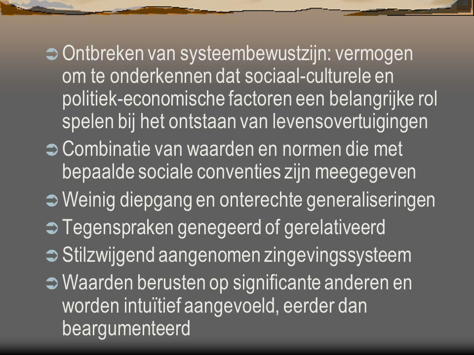  Ontbreken van systeembewustzijn: vermogen om te onderkennen dat sociaal-culturele en politiek-economische factoren een belangrijke rol spelen bij he