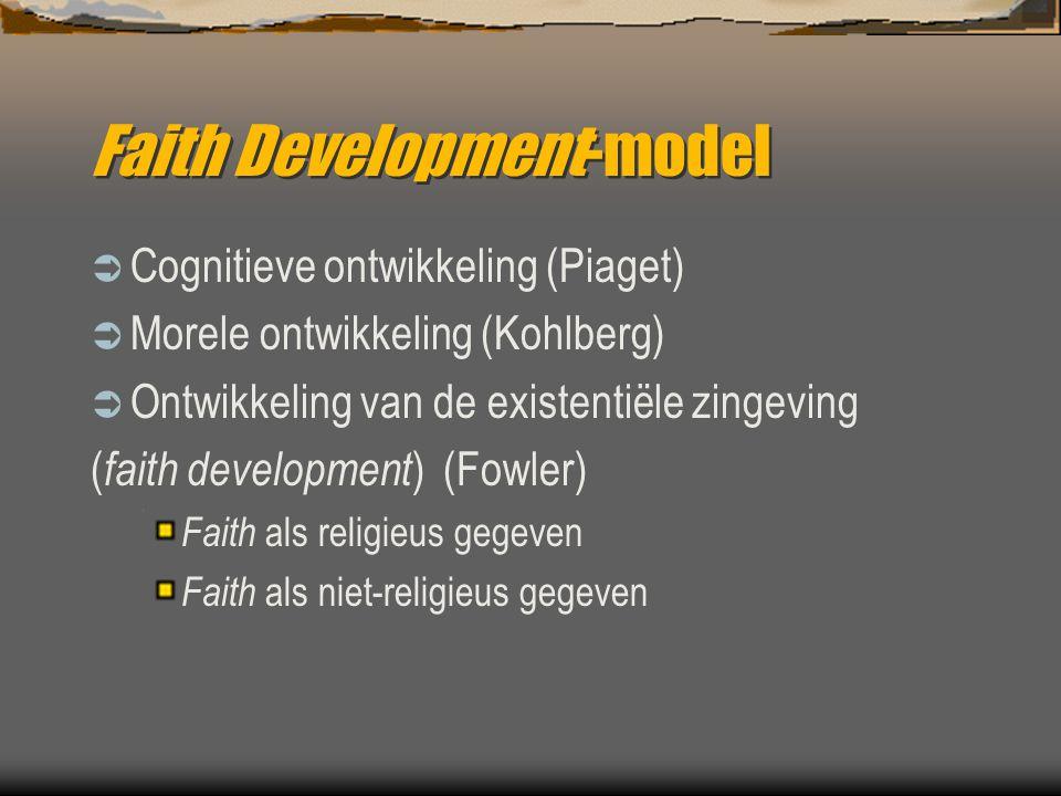 Faith Development-model  Cognitieve ontwikkeling (Piaget)  Morele ontwikkeling (Kohlberg)  Ontwikkeling van de existentiële zingeving ( faith devel