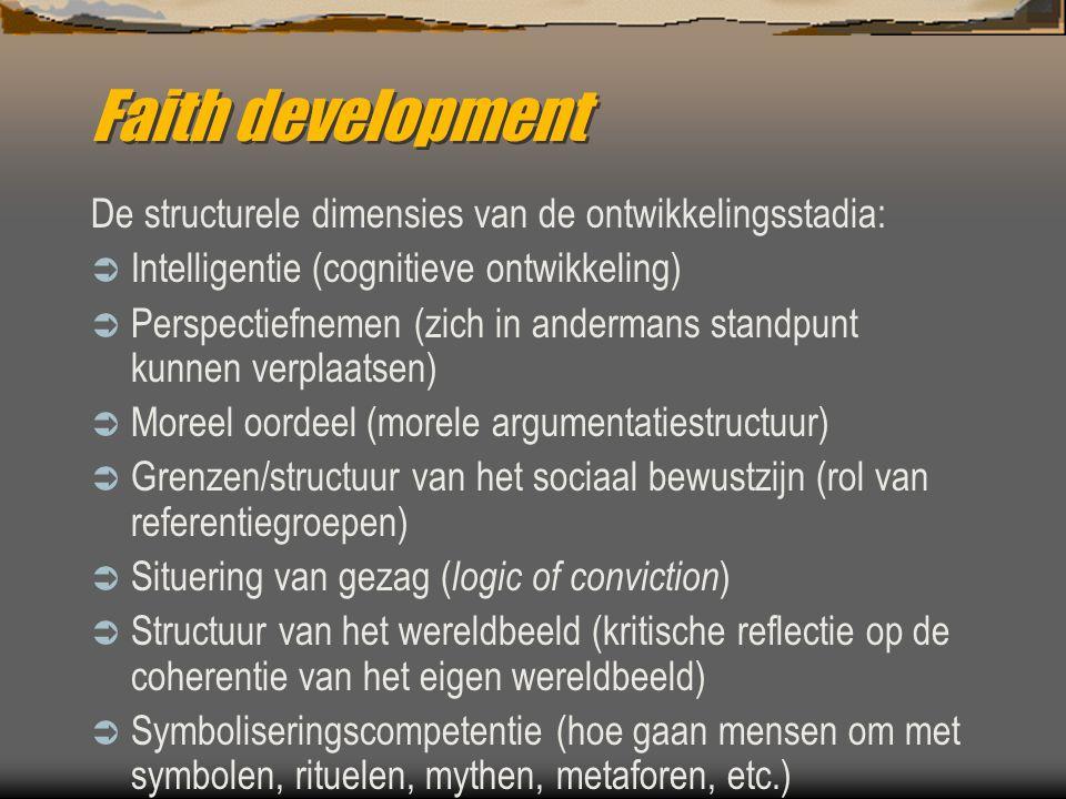 Faith development De structurele dimensies van de ontwikkelingsstadia:  Intelligentie (cognitieve ontwikkeling)  Perspectiefnemen (zich in andermans