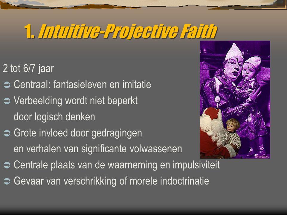 1. Intuitive-Projective Faith 2 tot 6/7 jaar  Centraal: fantasieleven en imitatie  Verbeelding wordt niet beperkt door logisch denken  Grote invloe
