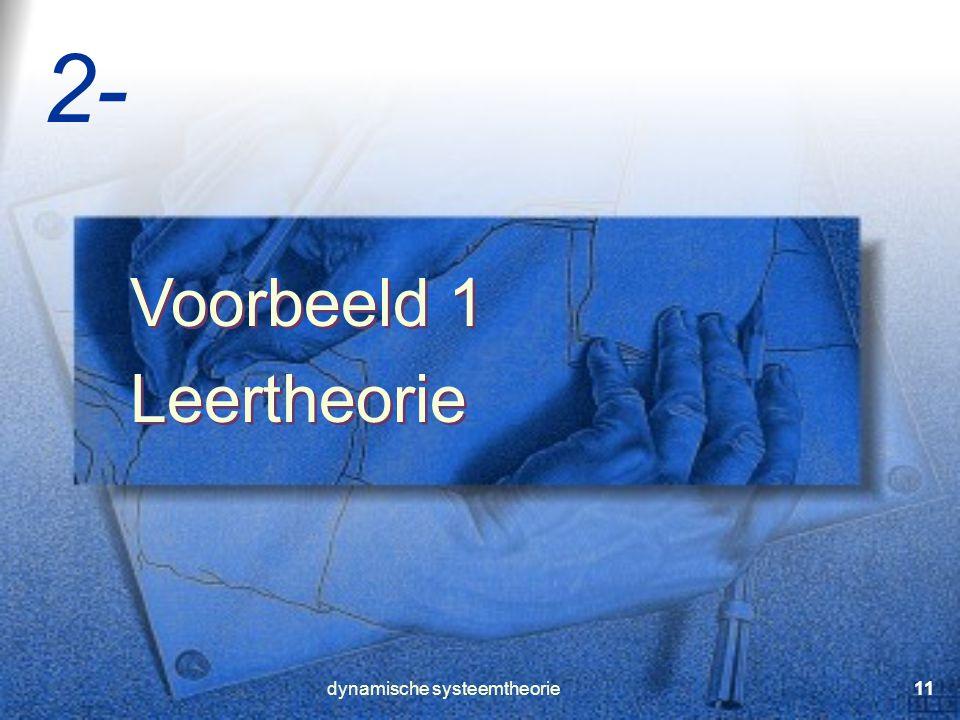 dynamische systeemtheorie11 Voorbeeld 1 Leertheorie Voorbeeld 1 Leertheorie 2-
