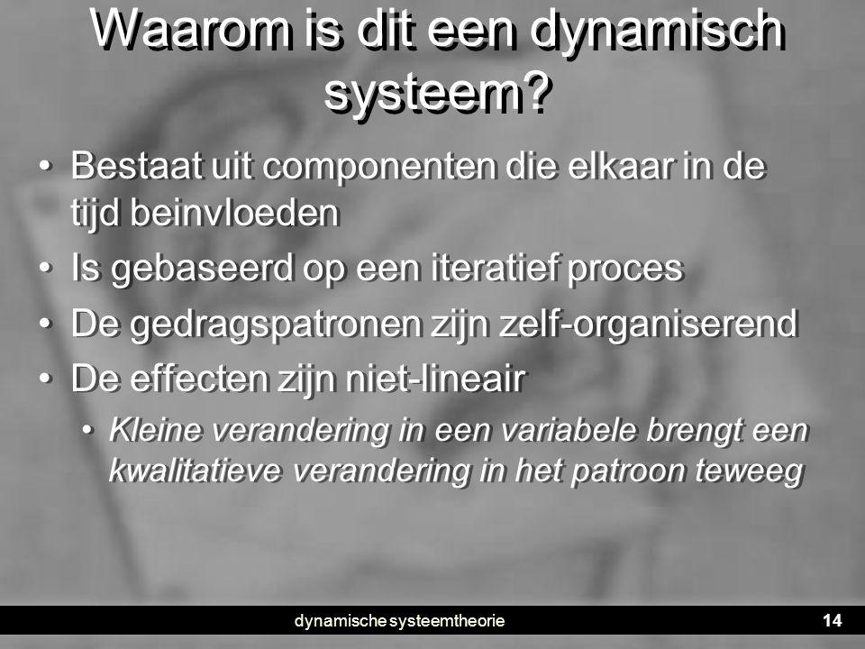 dynamische systeemtheorie14 Waarom is dit een dynamisch systeem? • Bestaat uit componenten die elkaar in de tijd beinvloeden • Is gebaseerd op een ite
