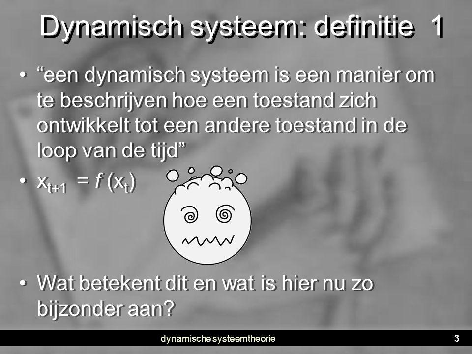 dynamische systeemtheorie4 Systeemdenken • DST is een benadering: een algemene kijk op processen • Het kan op alle klassieke verklaringsmodellen worden toegepast •Veel ontwikkelingsonderzoek volgt een lineaire logica •A beïnvloedt B •Het aspect tijd wordt eruitgehaald •Er wordt gegeneraliseerd over groepen • DST is een benadering: een algemene kijk op processen • Het kan op alle klassieke verklaringsmodellen worden toegepast •Veel ontwikkelingsonderzoek volgt een lineaire logica •A beïnvloedt B •Het aspect tijd wordt eruitgehaald •Er wordt gegeneraliseerd over groepen Een voorbeeld van een ontwikkelingspsycho- logische bevinding • •Kinderen die voorafgaand aan de intrede in de basisschool veel vrienden hebben in hun sociale netwerk • •Hebben minder last van stress tijdens de overgang naar de basisschool • •Gevonden in longitudinaal onderzoek • •Bij 32 kinderen • •Samenhang is statistisch significant Een voorbeeld van een ontwikkelingspsycho- logische bevinding • •Kinderen die voorafgaand aan de intrede in de basisschool veel vrienden hebben in hun sociale netwerk • •Hebben minder last van stress tijdens de overgang naar de basisschool • •Gevonden in longitudinaal onderzoek • •Bij 32 kinderen • •Samenhang is statistisch significant Bij sommige kinderen uit de groep is het andersom Hoe komt het dat het bij sommige kinderen zo werkt en bij andere kinderen anders.