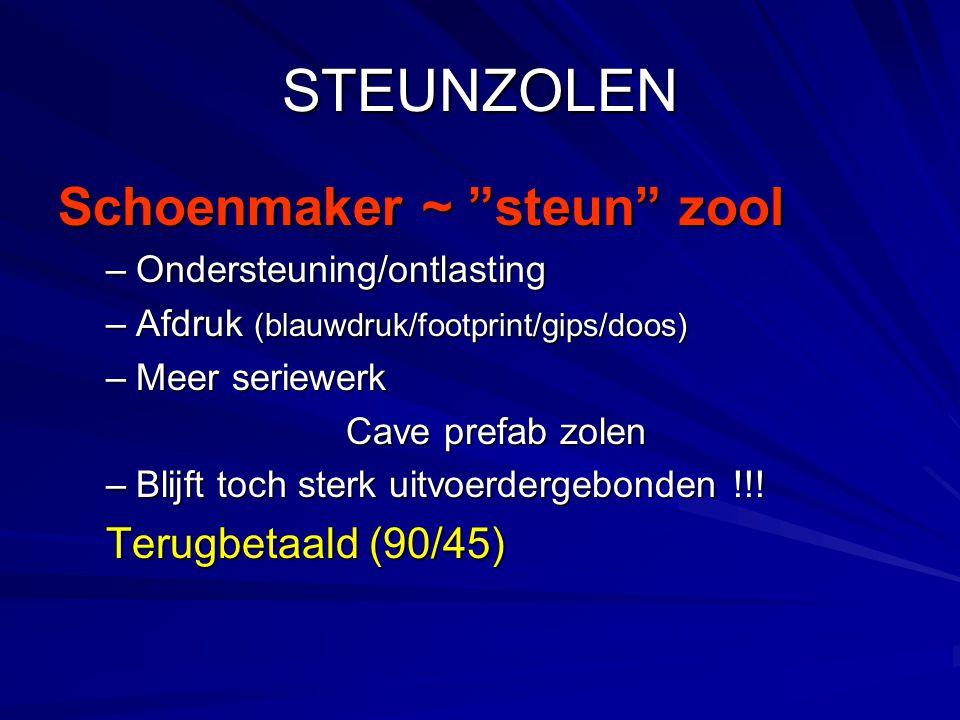 """STEUNZOLEN Schoenmaker ~ """"steun"""" zool –Ondersteuning/ontlasting –Afdruk (blauwdruk/footprint/gips/doos) –Meer seriewerk Cave prefab zolen –Blijft toch"""
