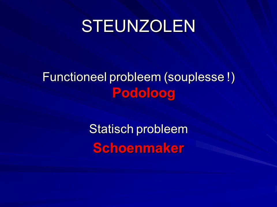 STEUNZOLEN Functioneel probleem (souplesse !) Podoloog Statisch probleem Schoenmaker