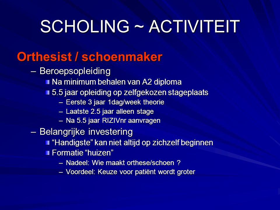 SCHOLING ~ ACTIVITEIT Orthesist / schoenmaker –Beroepsopleiding Na minimum behalen van A2 diploma 5.5 jaar opleiding op zelfgekozen stageplaats –Eerst