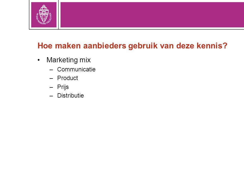 Hoe maken aanbieders gebruik van deze kennis? •Marketing mix –Communicatie –Product –Prijs –Distributie