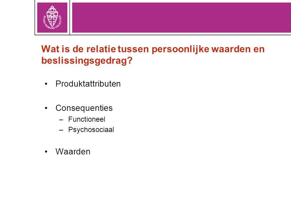 Wat is de relatie tussen persoonlijke waarden en beslissingsgedrag? •Produktattributen •Consequenties –Functioneel –Psychosociaal •Waarden